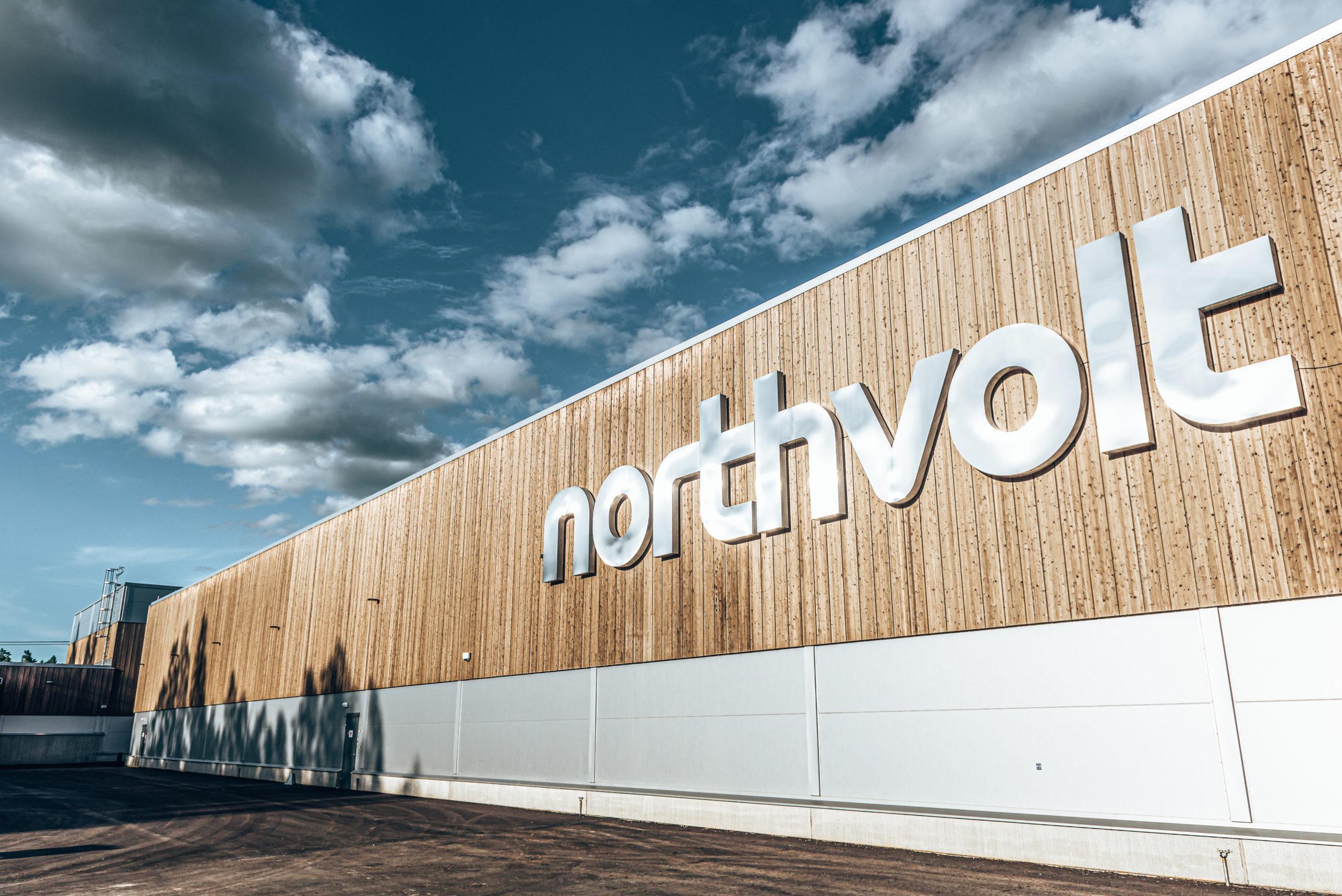 Northvolt sign on the west side of the building.